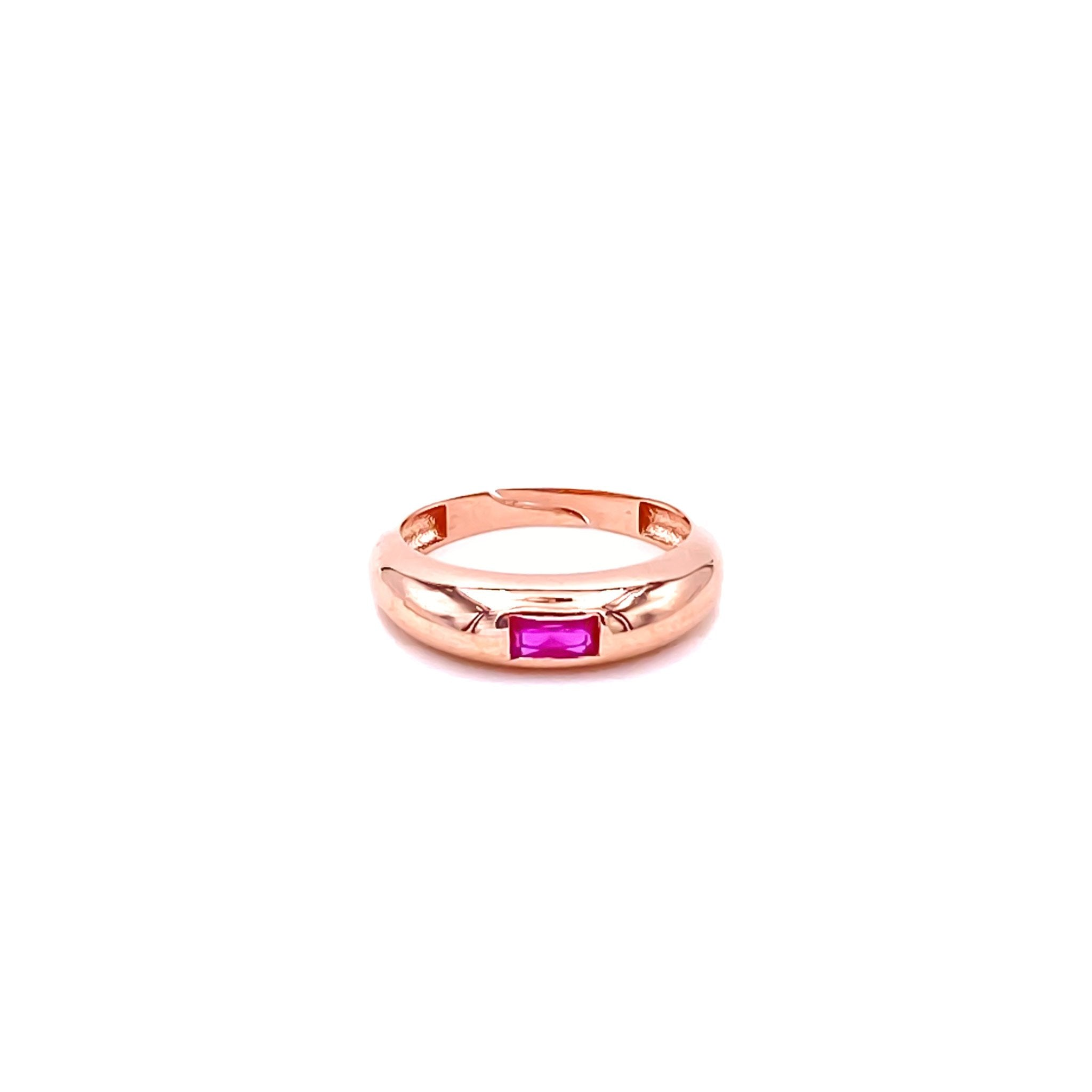 Pink Baguette Camber Ring