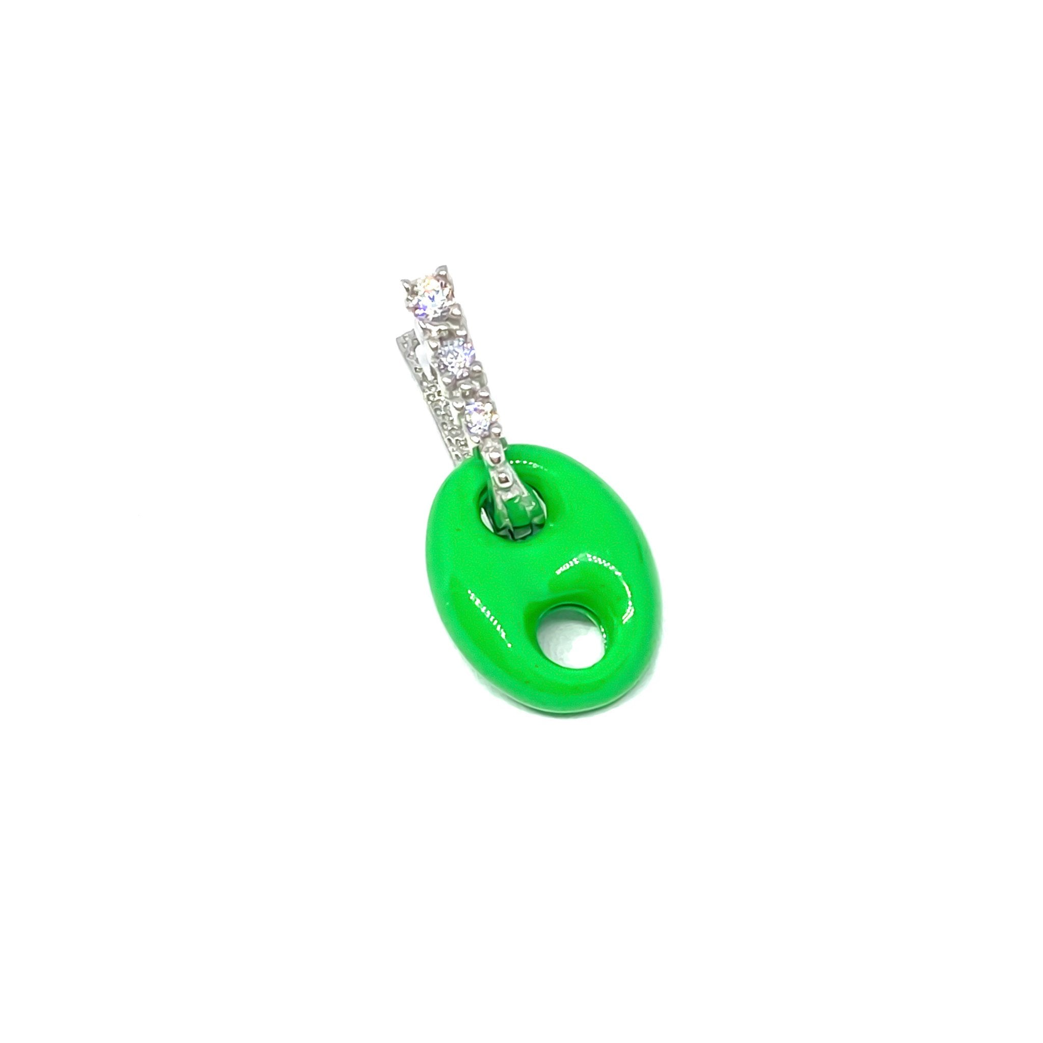 Green Button Earring