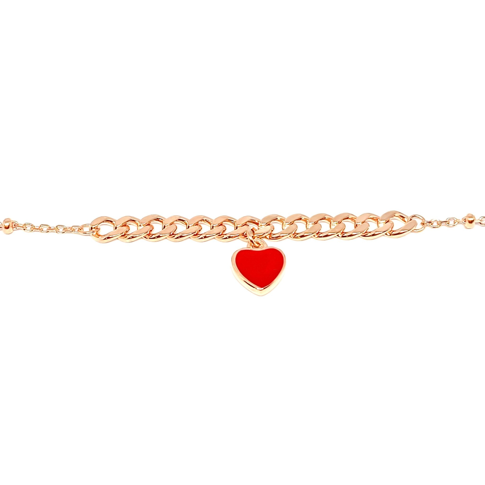 Red Heart Chain Bracelet