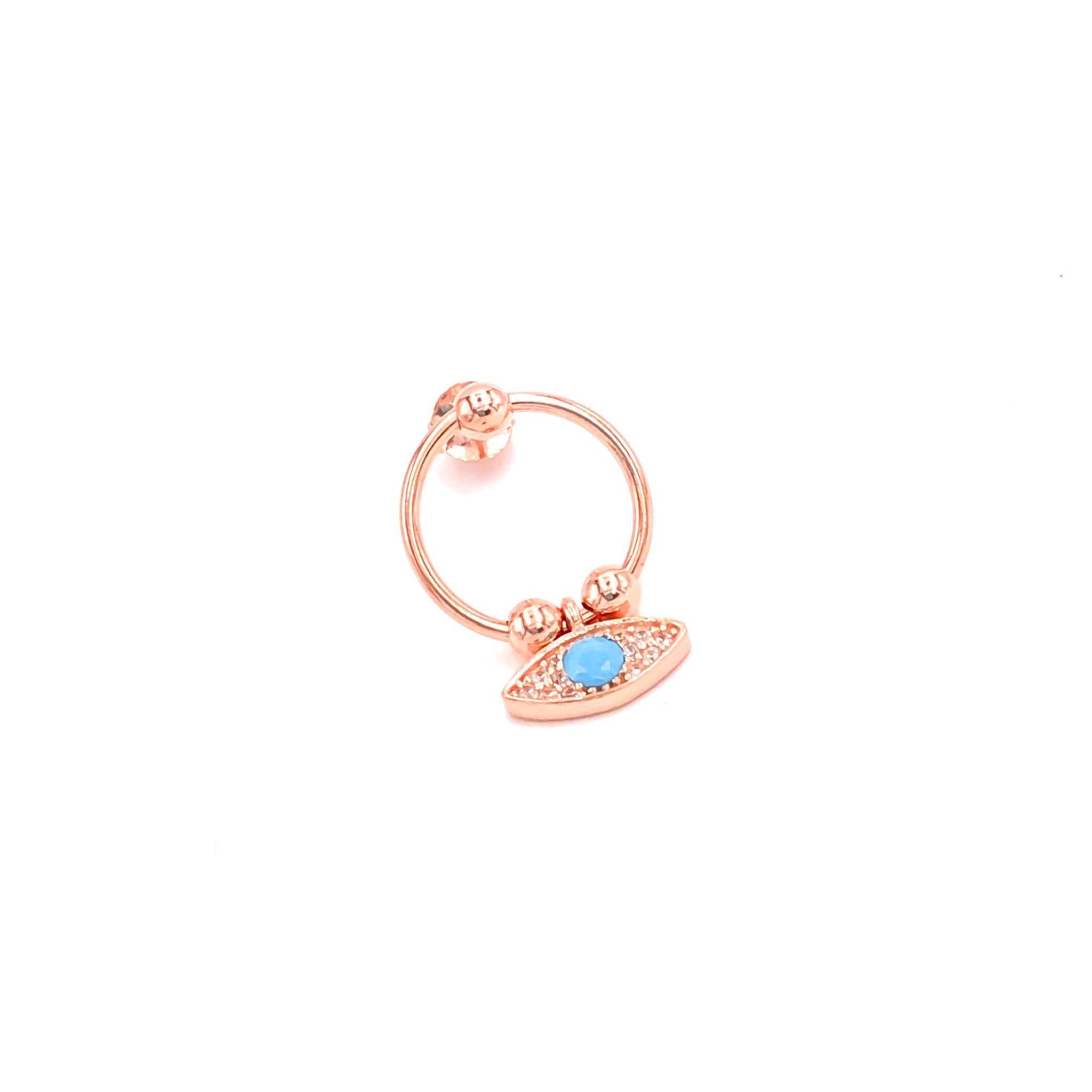 Circle Blue Eye Drop Earring
