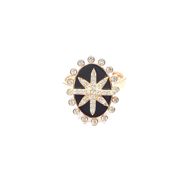 Black Onyx Star Medallion Ring