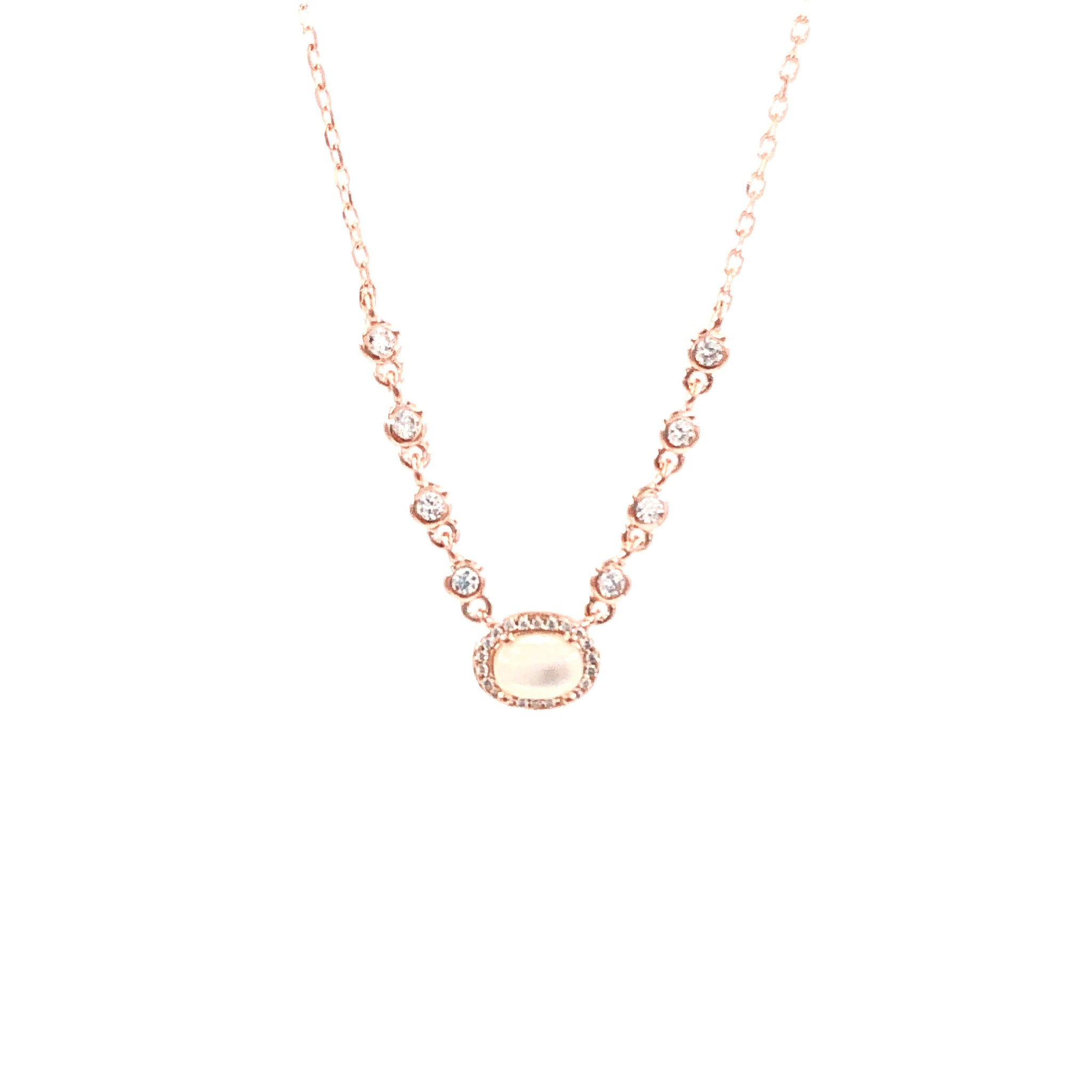 Multi Stone Mother of Pearl Necklace