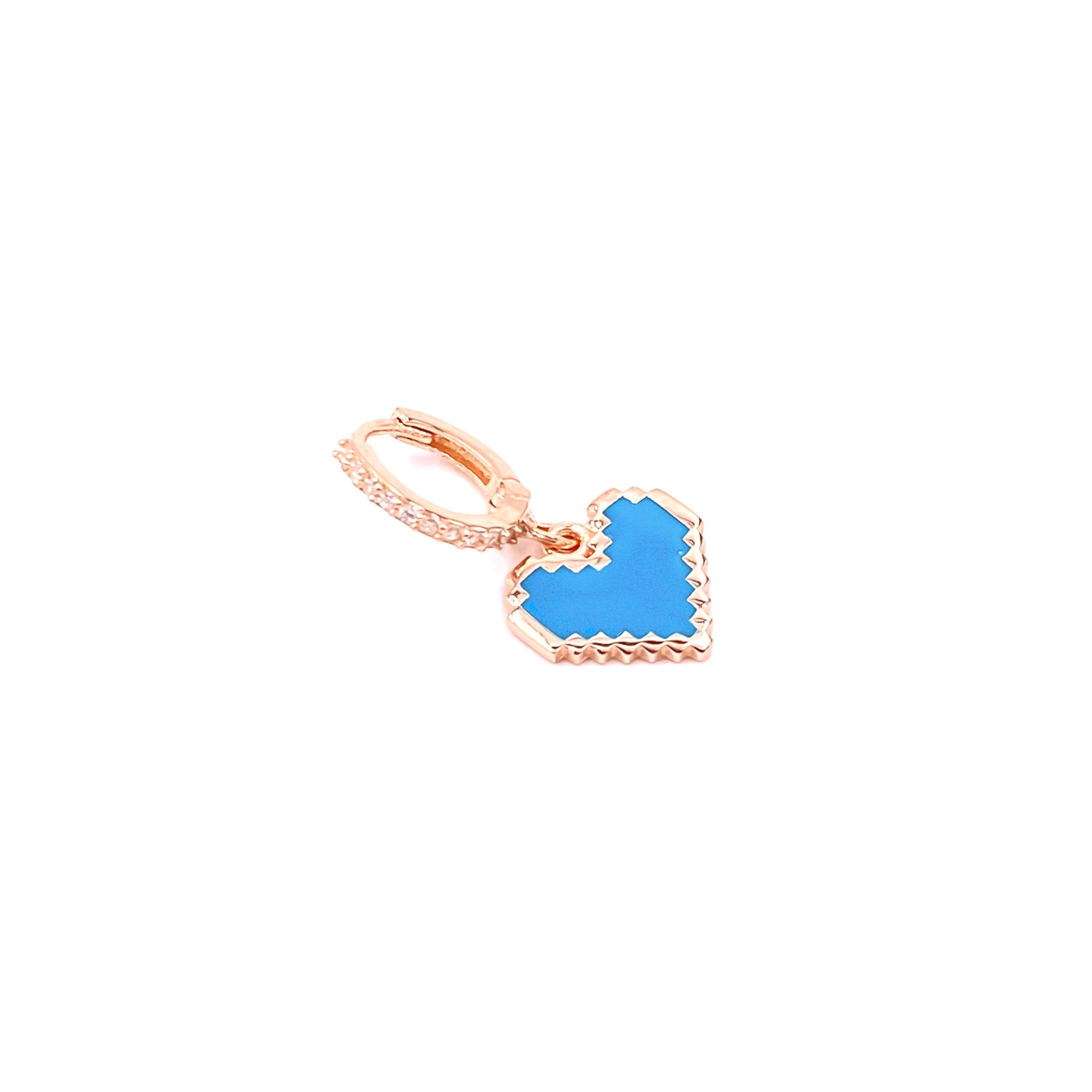 Blue Puzzle Heart Earring