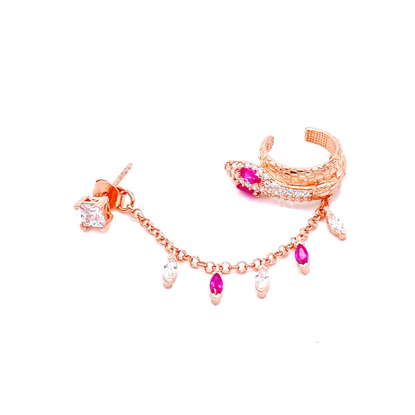 Pink Marquise Snake Cuff Earring