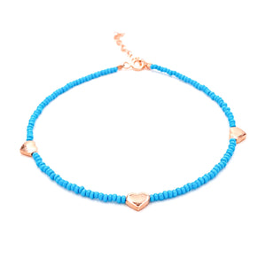 Trio Heart Turquoise Anklet