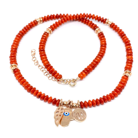 Charm Coral Bead Necklace