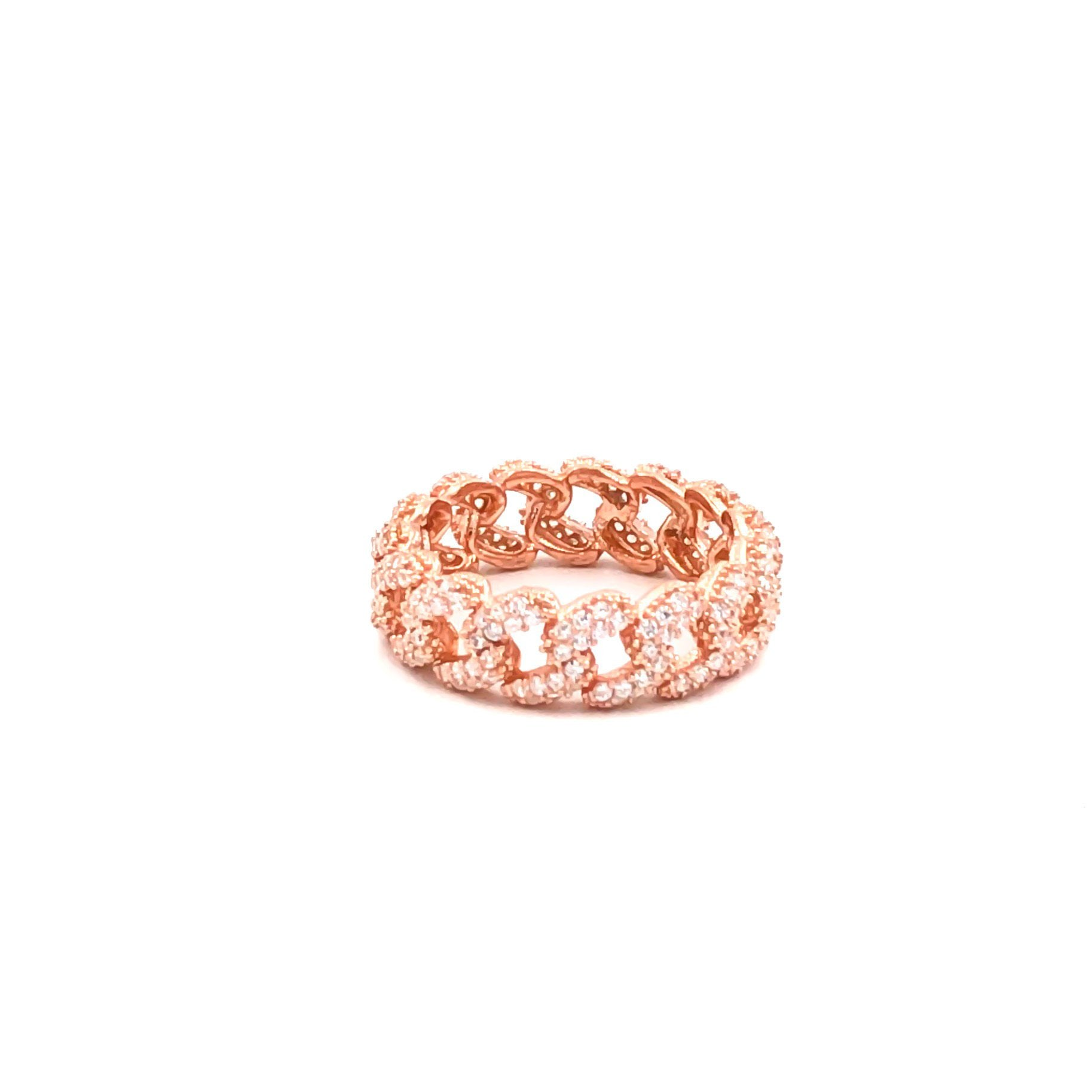 Slim Curb Chain Rose Ring