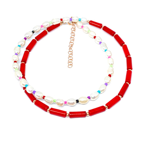 Pearl Coral Double Strand Necklace