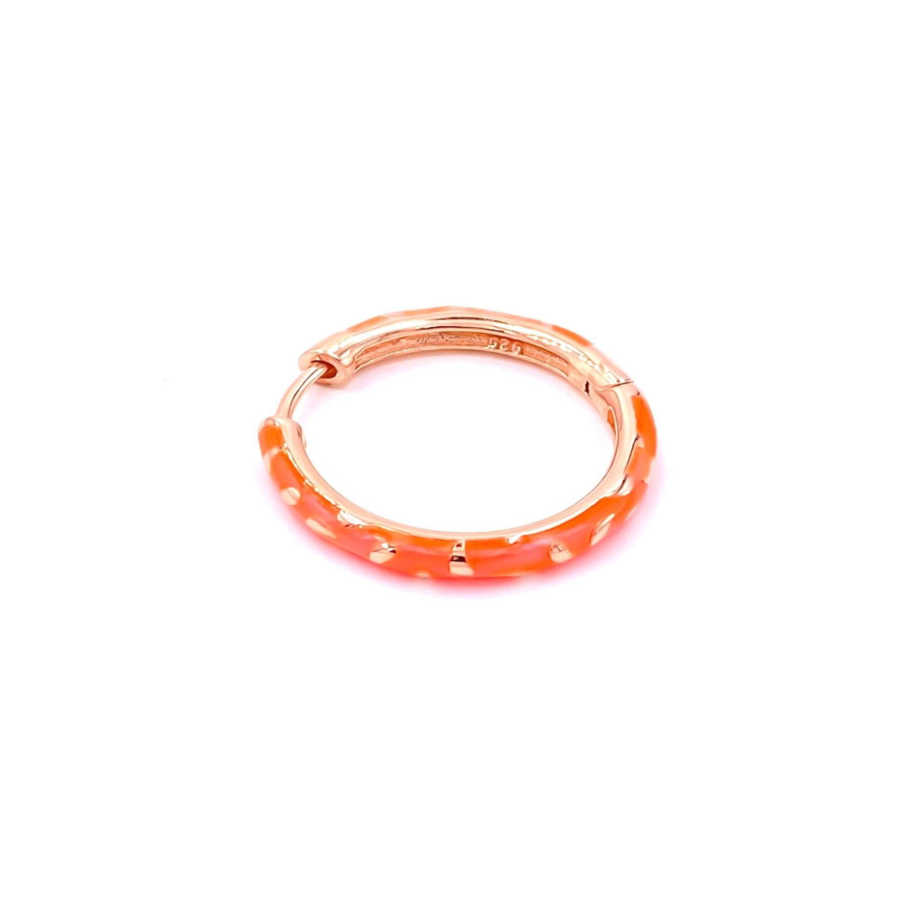 Orange Enamel Patterned Hoop Earring