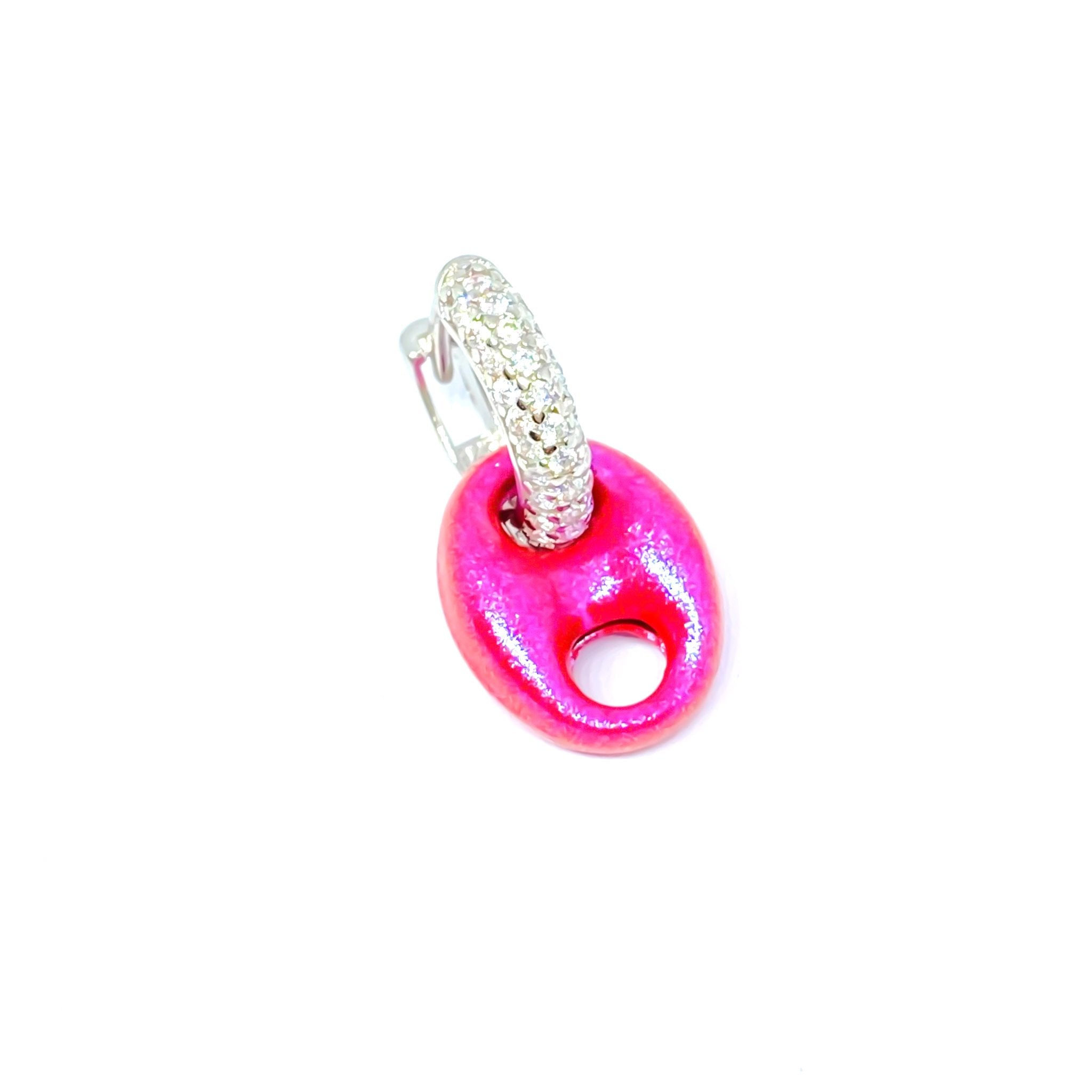 Metallic Pink Button Midi Earring
