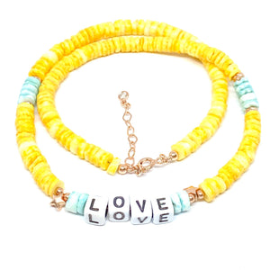LOVE Yellow Discs Necklace