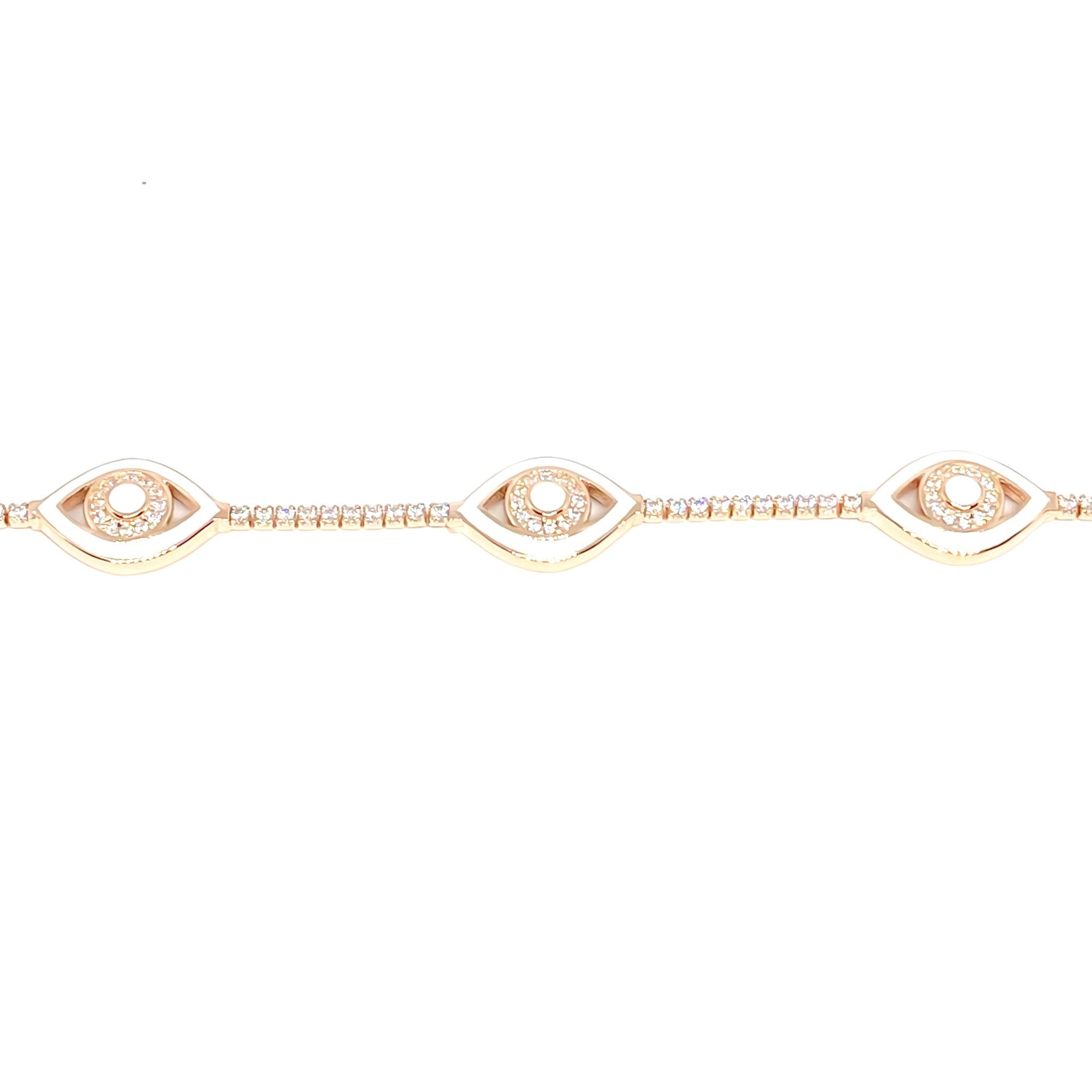 White Enamel 3 Eye Tennis Bracelet