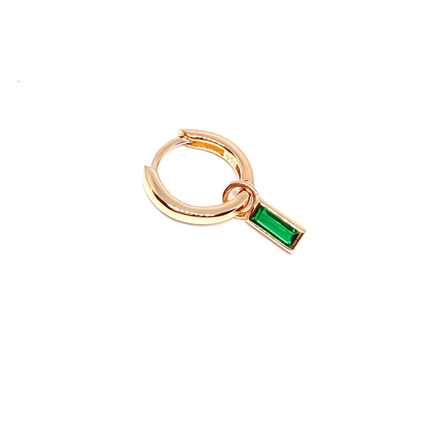 Green Baguette Drop Huggie Earring
