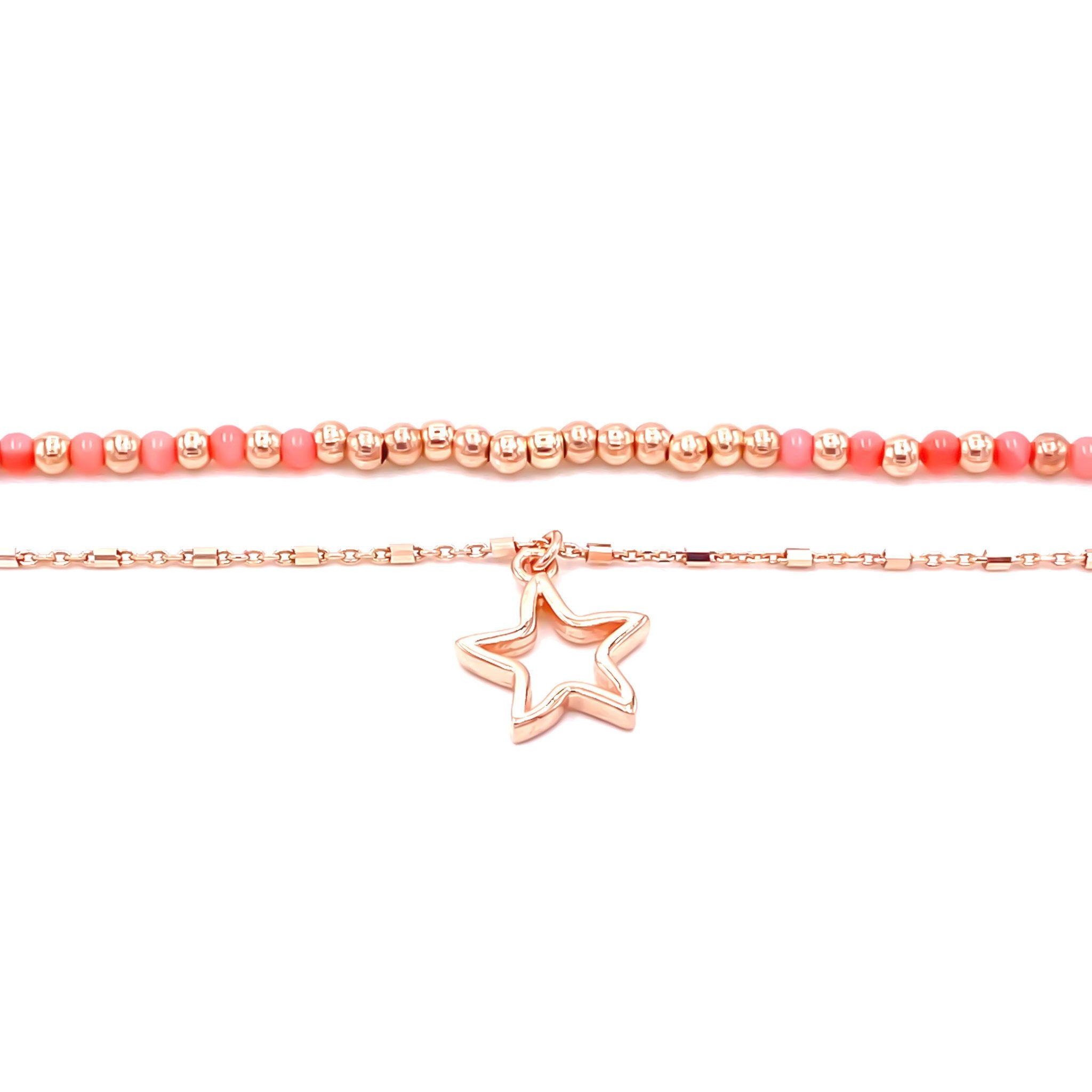 Coral Star Drop Anklet