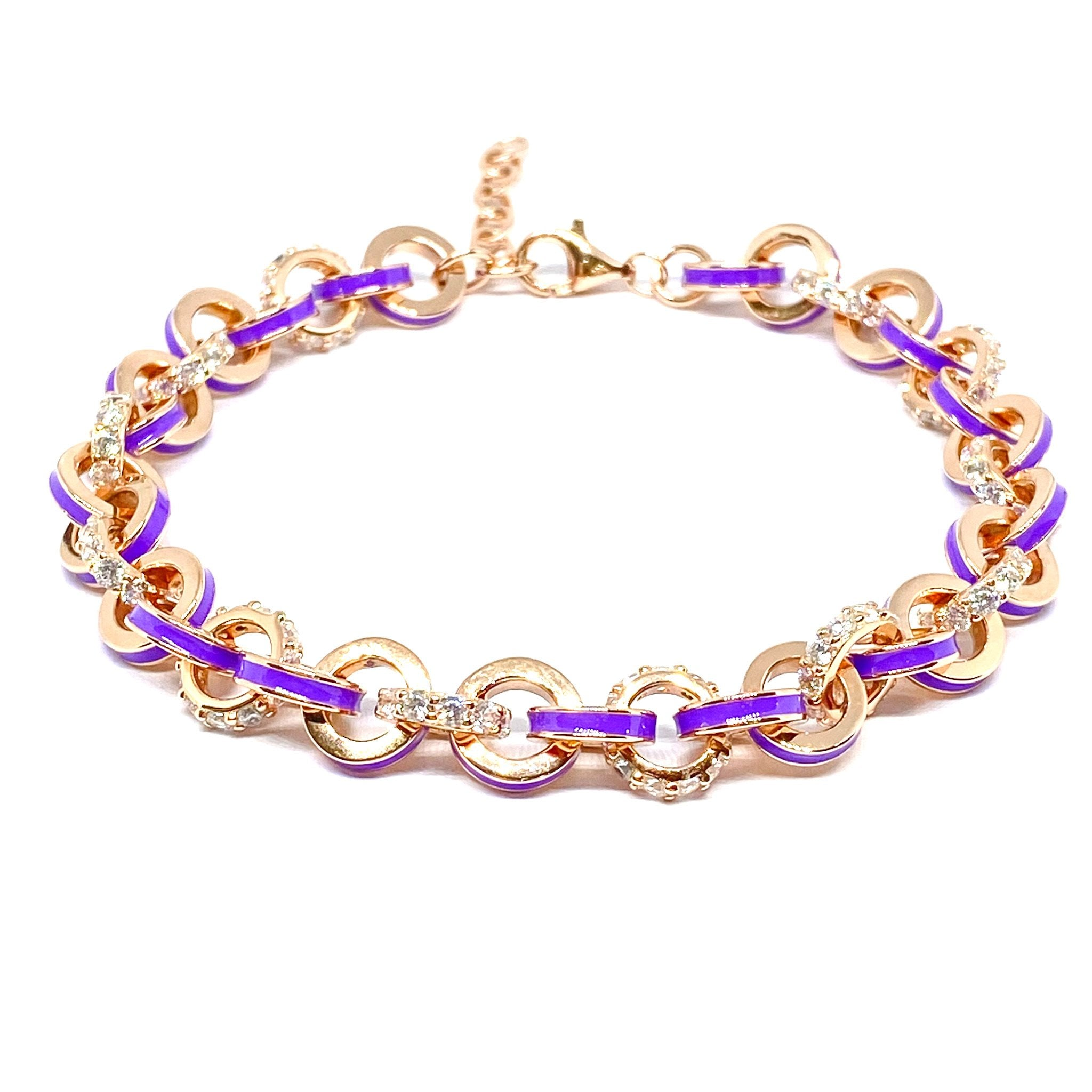 Purple Enamel Circle Bracelet