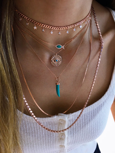 Turquoise Eye Medallion Necklace