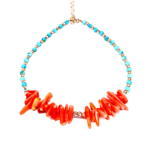 Coral Sticks Turquoise Anklet