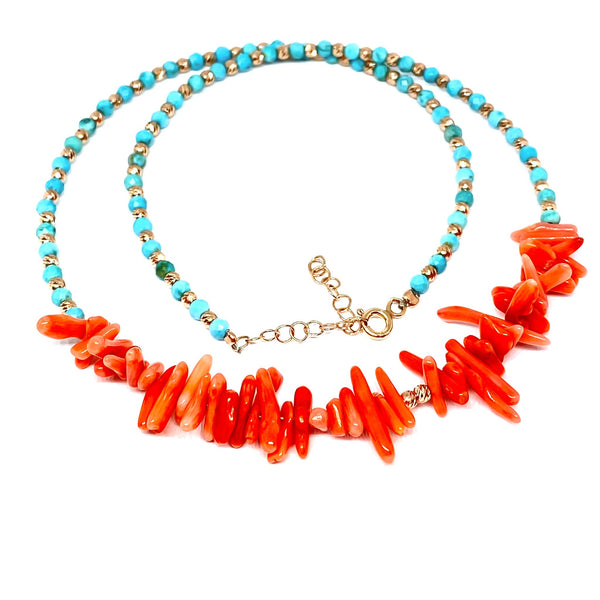 Coral Sticks Turquoise Necklace