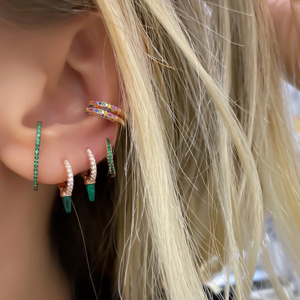 Emerald Six Shaped Earring