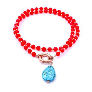 Turquoise Drop Coral Necklace