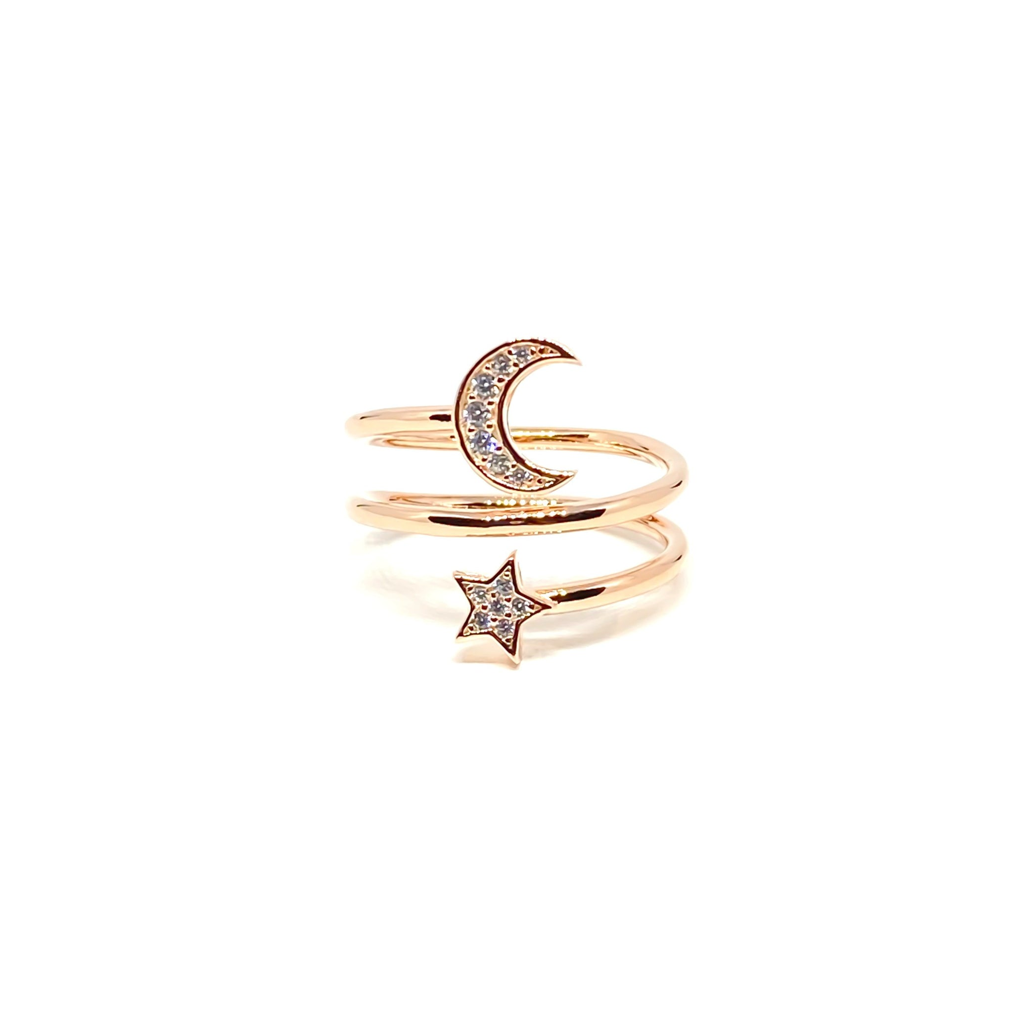 Moon Star Twist Ring