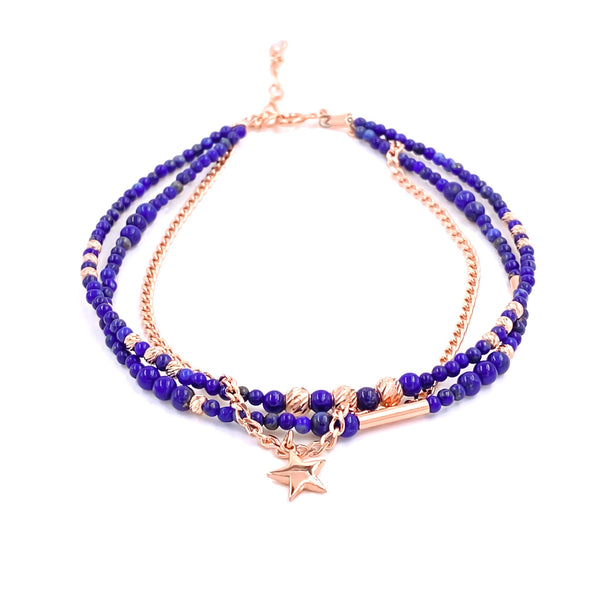 Lapis Three Strand Anklet