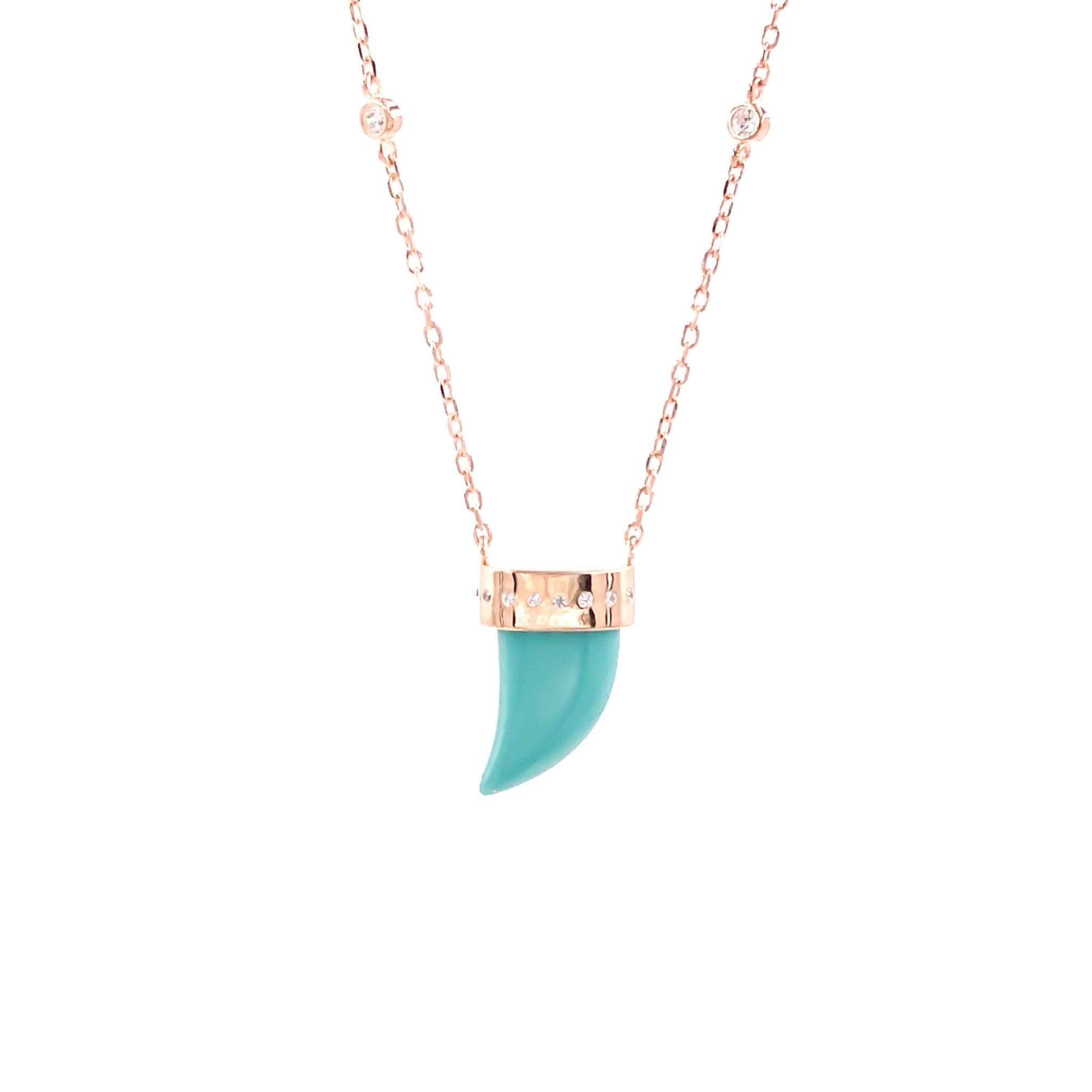 Turquoise Ivory Gemstone Chain Necklace