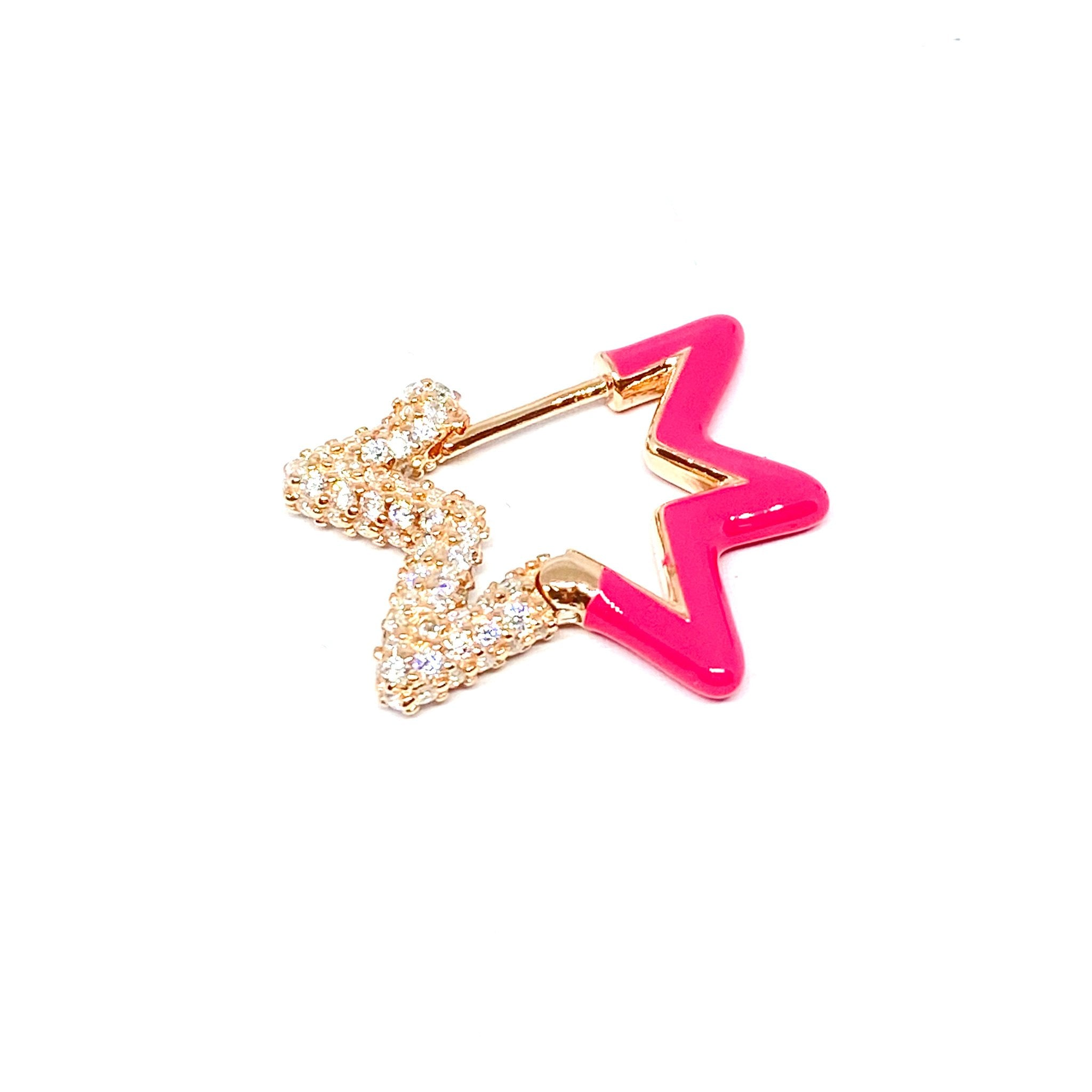 Neon Pink Two Sided Star Earring