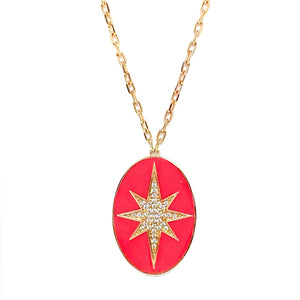 Pink Enamel Star Pendant Necklace
