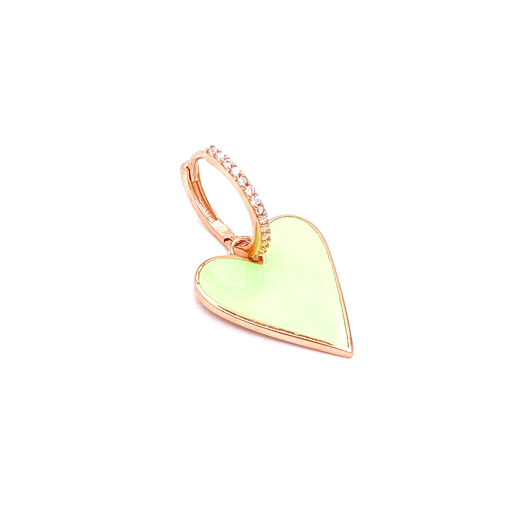 Sea Green Enamel Heart Earring