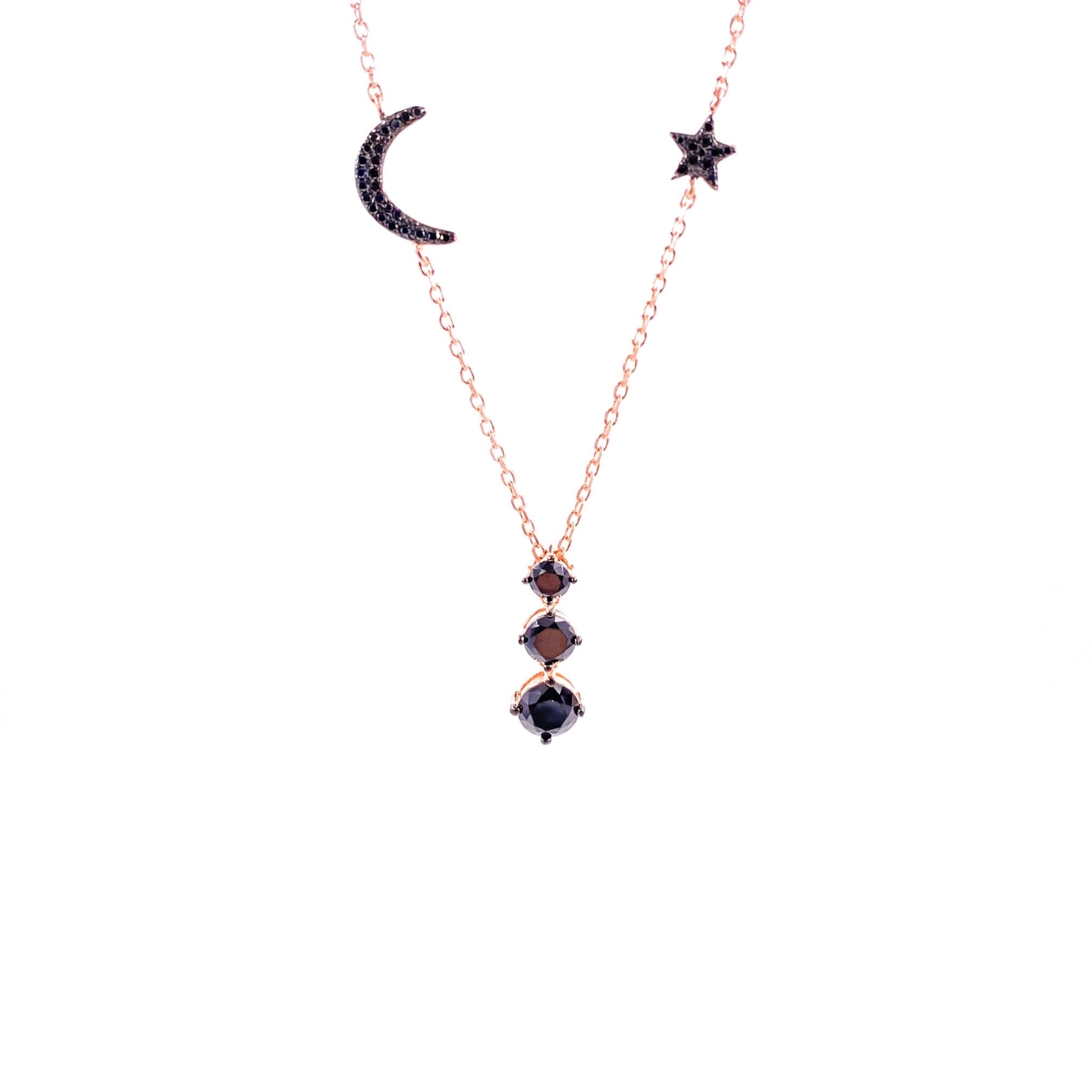 Black Moon Star Necklace