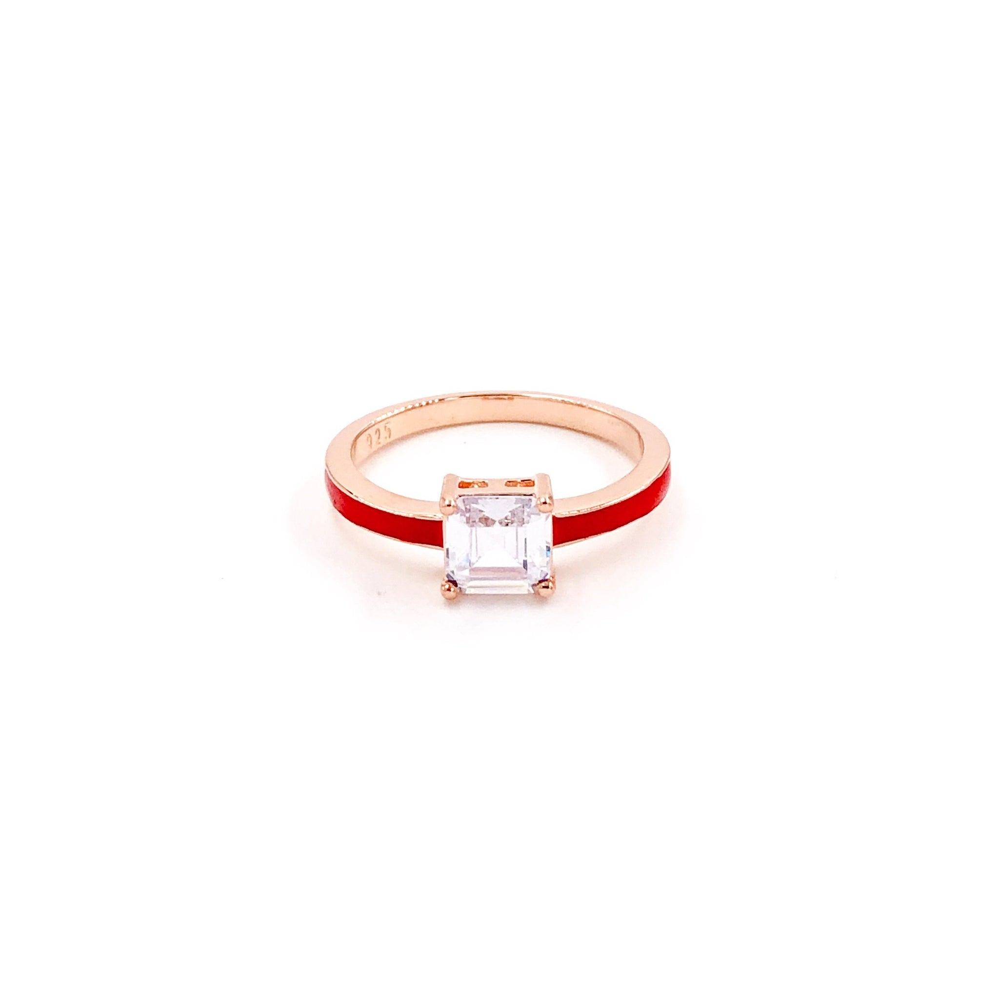 Red Enamel Solitaire Ring