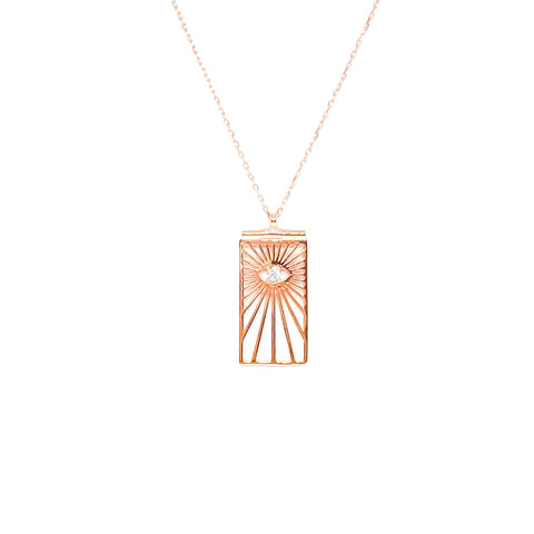 Rectangle Medallion Eye Necklace