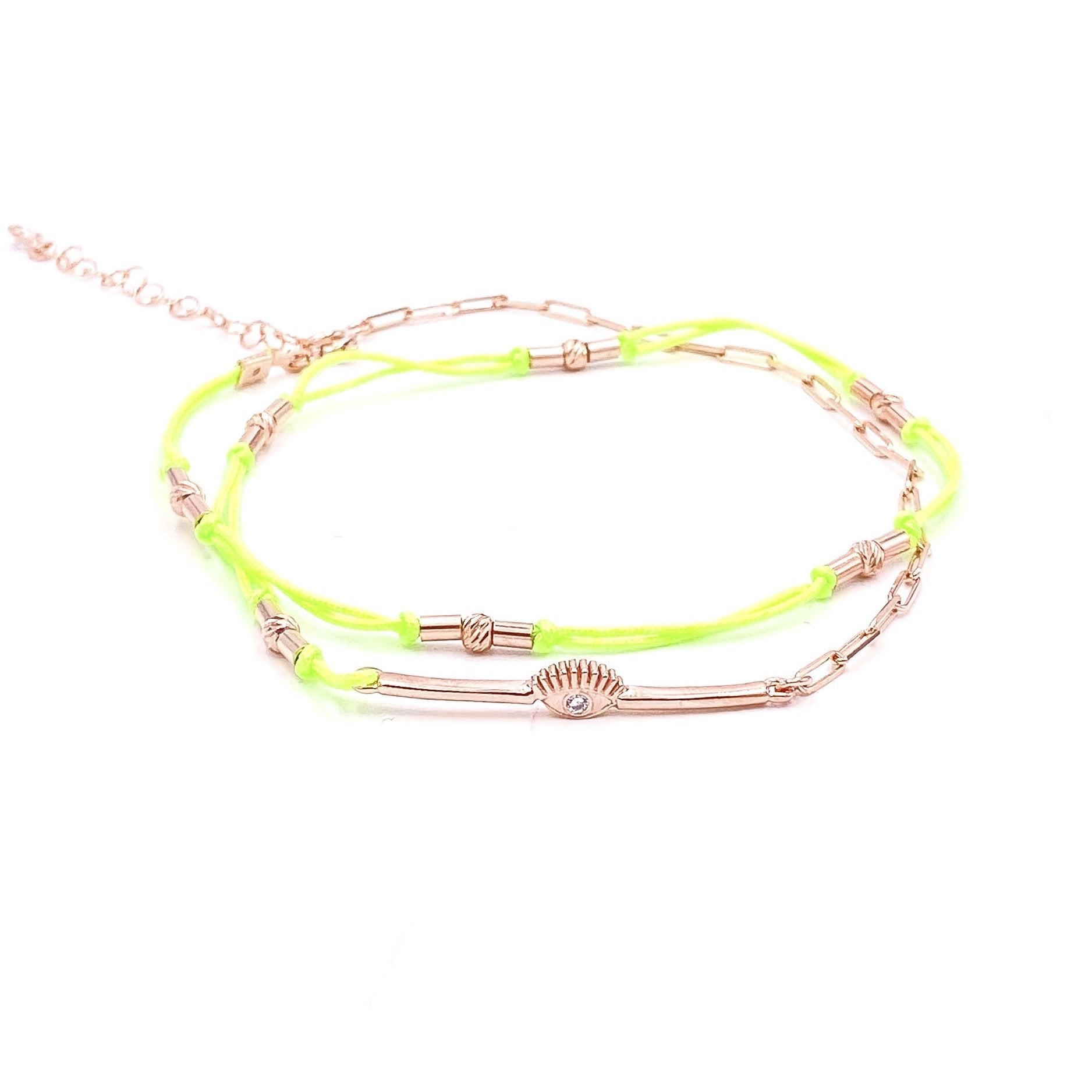 Neon Yellow Double Strand Eye Anklet