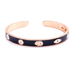 Black Enamel Charm Bangle Bracelet