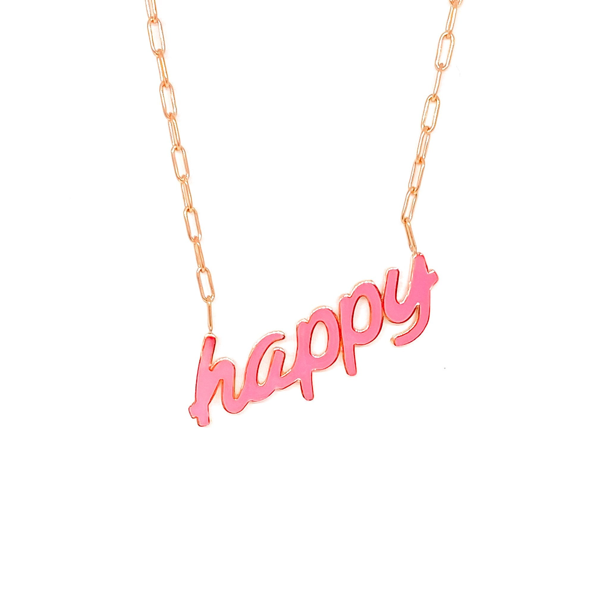 Neon Pink Happy Necklace