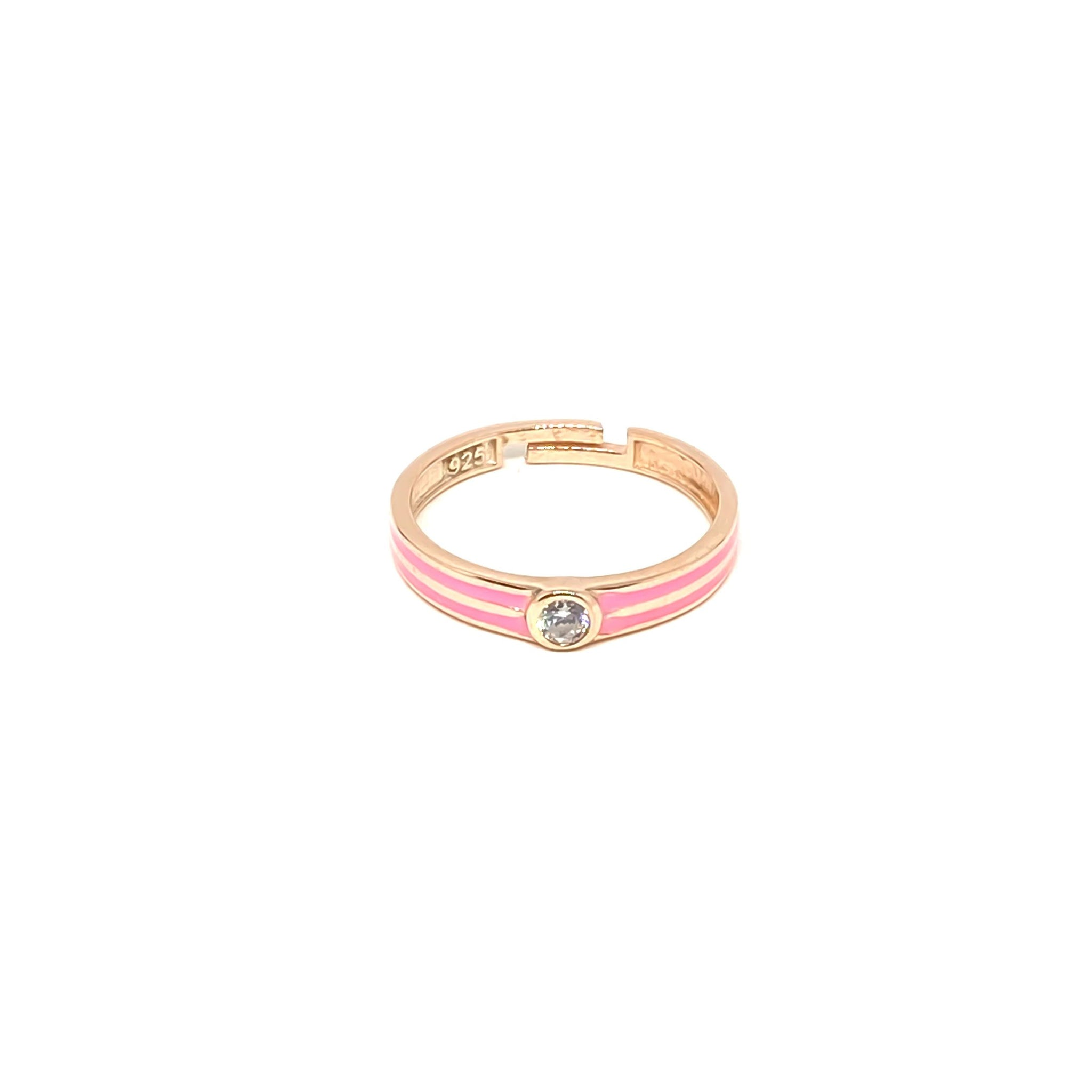 Pink Enamel Solitaire Ring