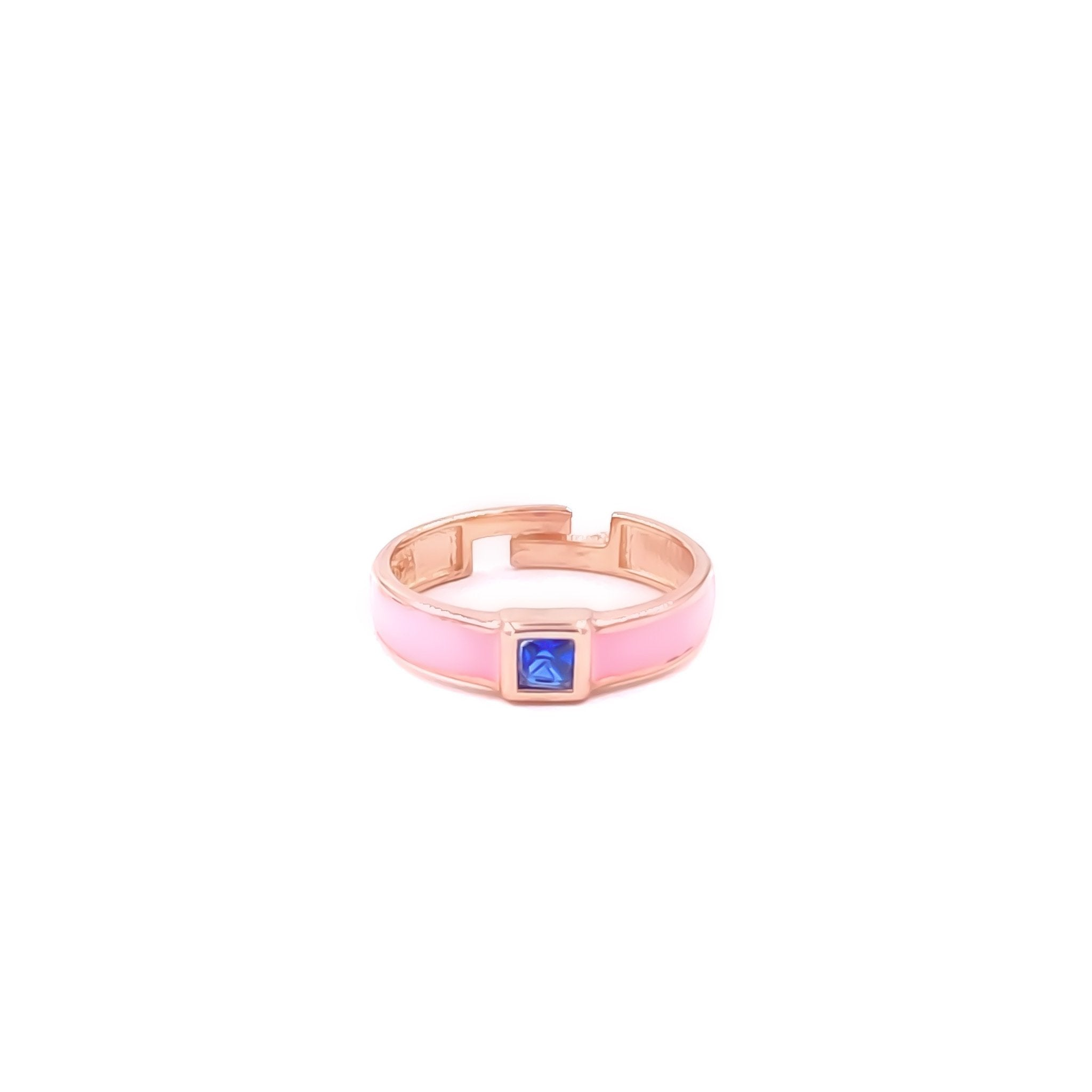Pink Enamel Blue Square Stone Ring