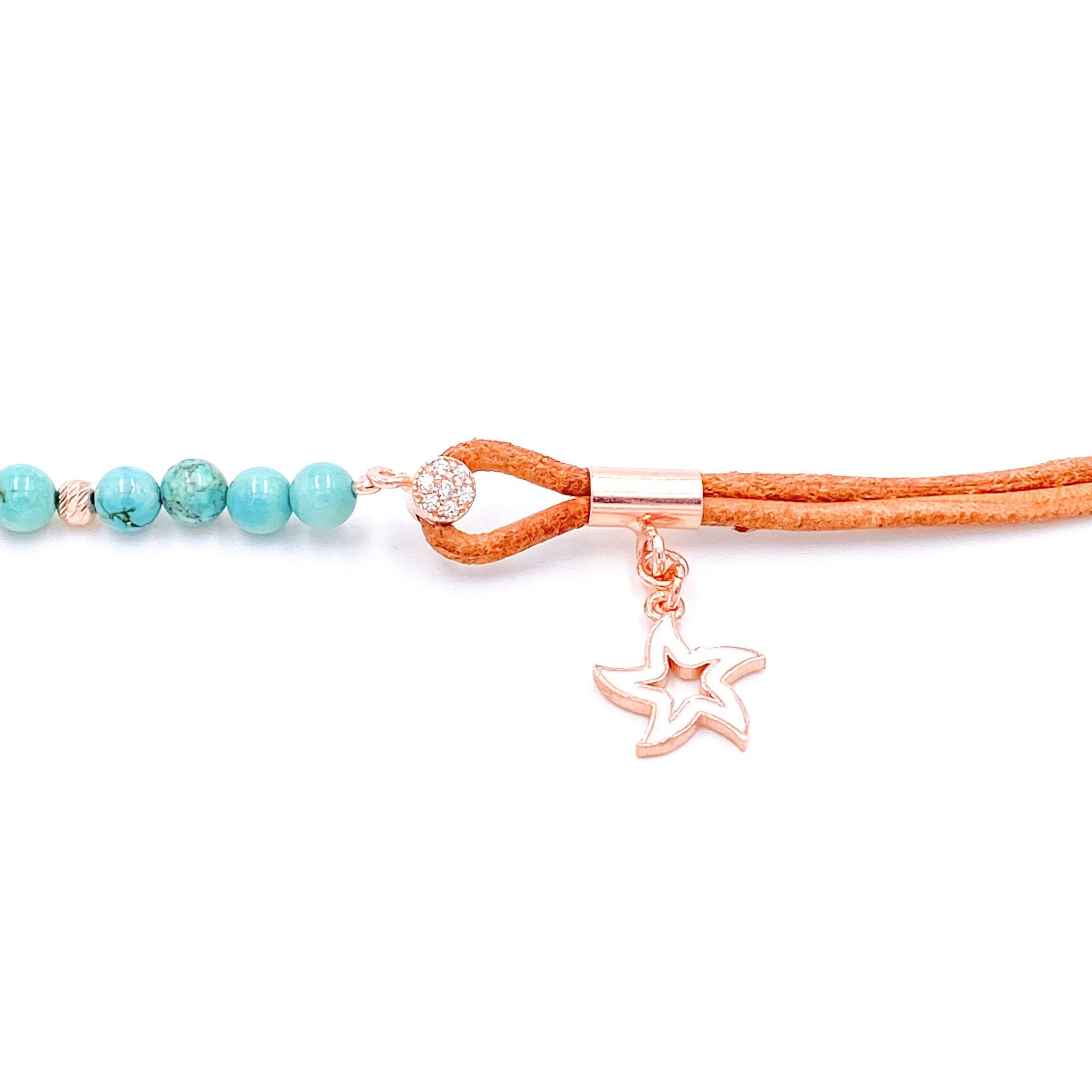 Suede Beaded Star Drop Anklet