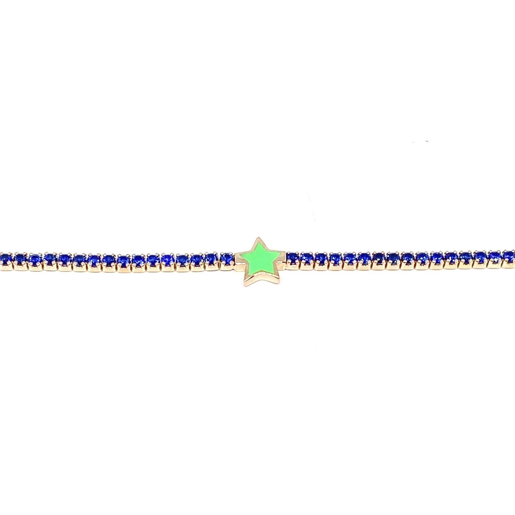 Green Star Blue Tennis Bracelet