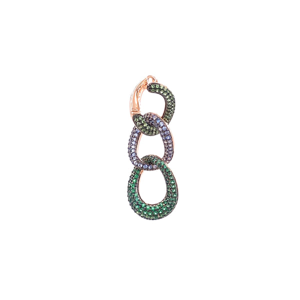 Green Thick Rope Chain Earring