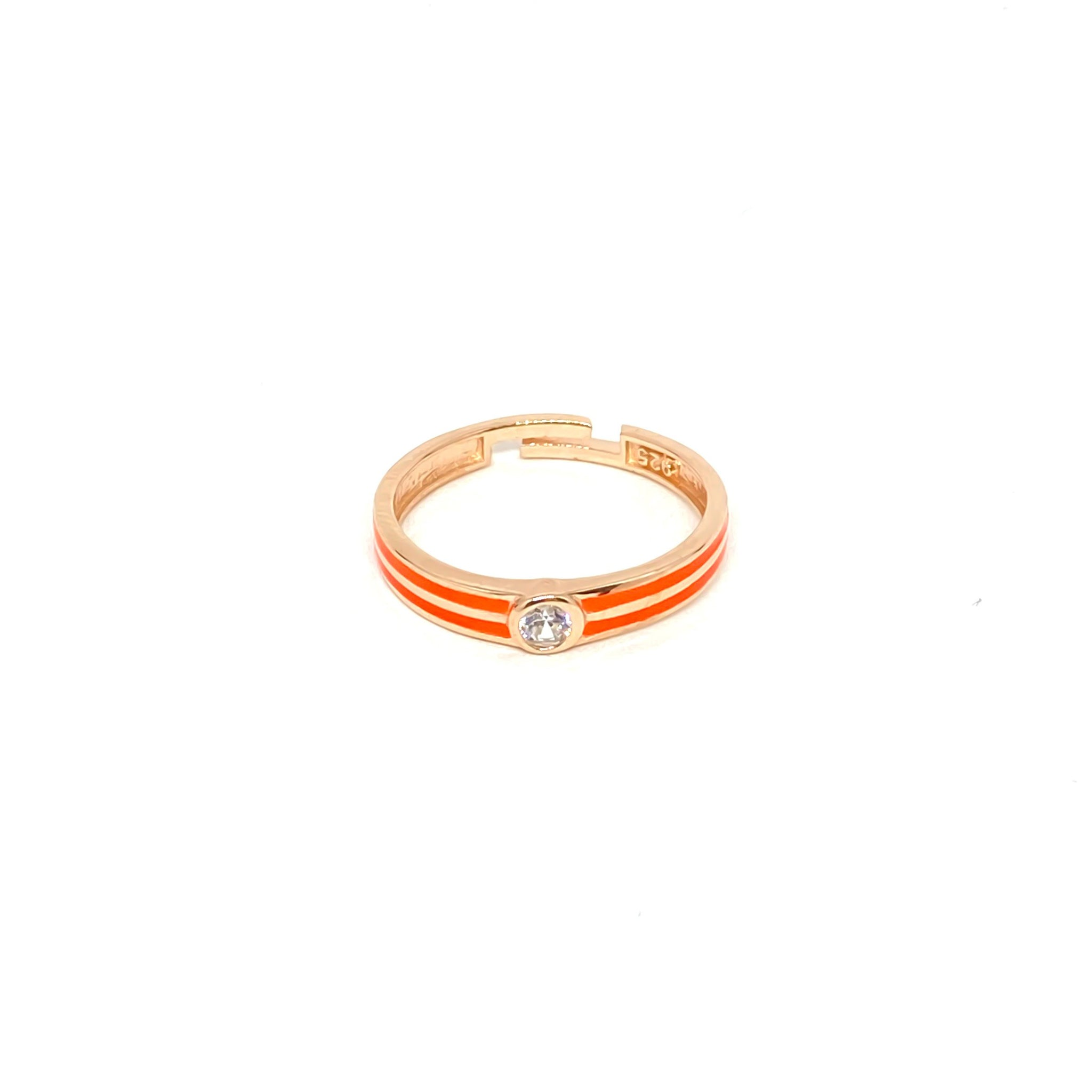 Orange Enamel Solitaire Ring