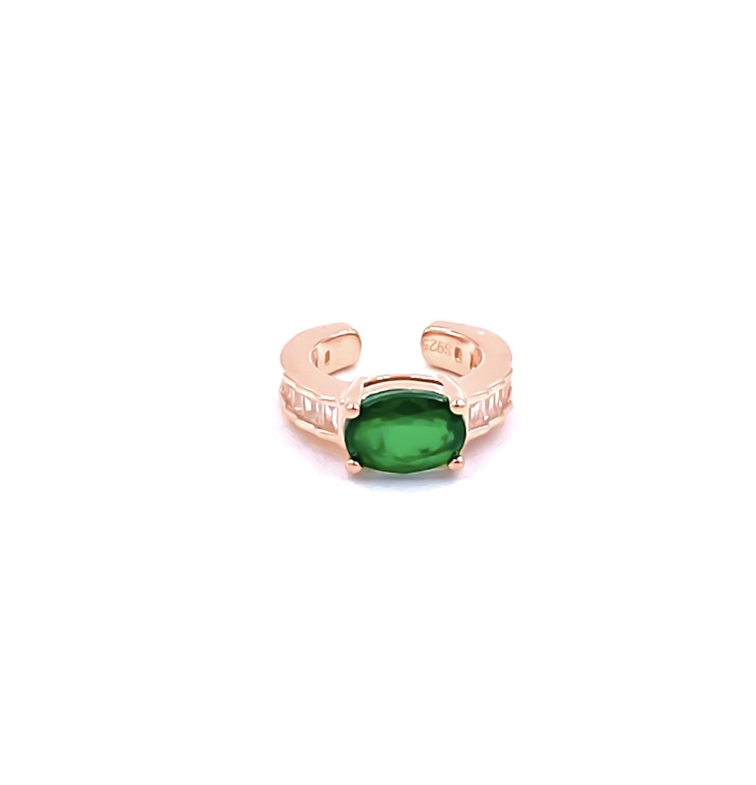 Oval Emerald Gemstone Ear Cuff