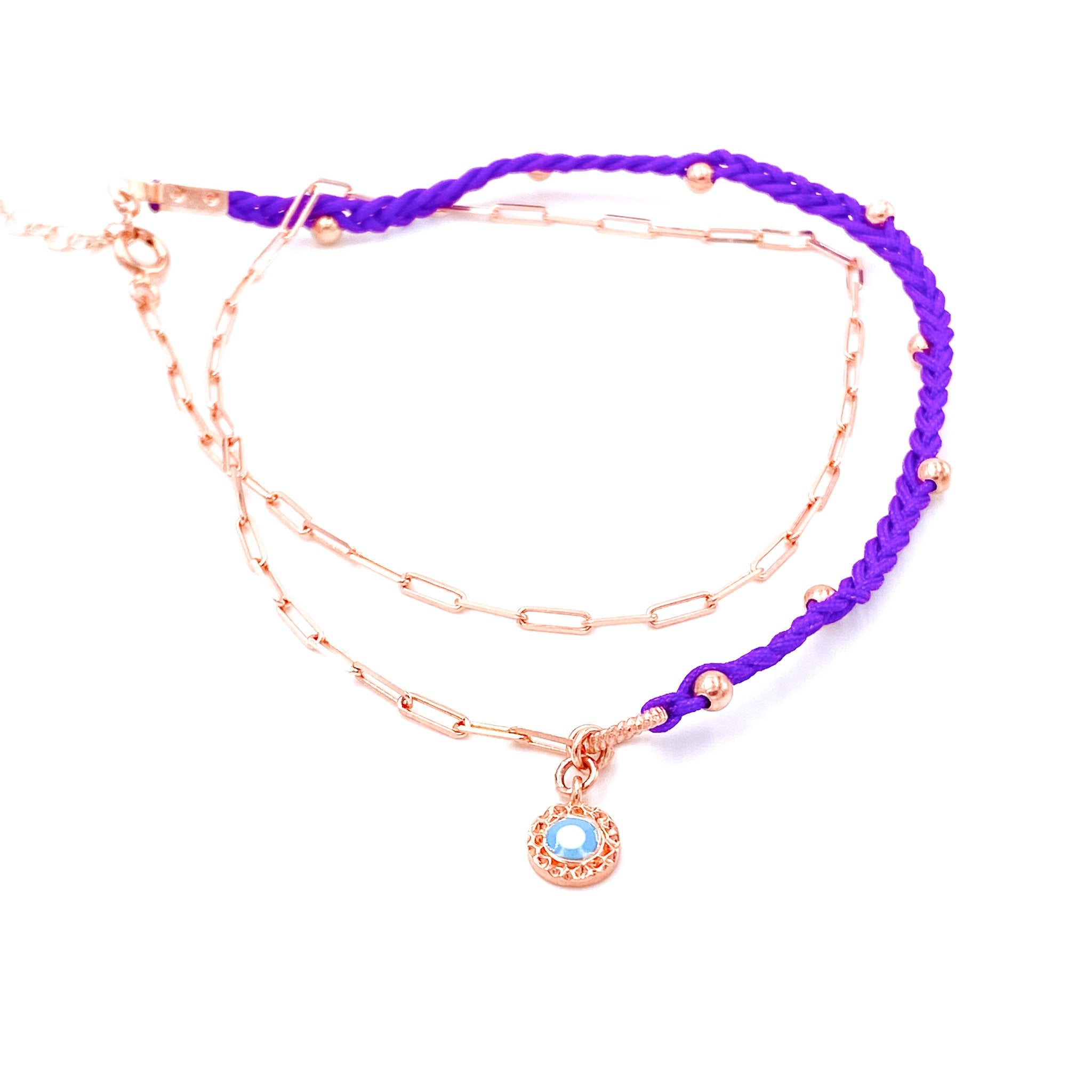 Purple Double Strand Anklet