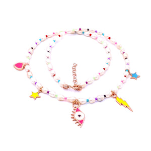 Enameled Charm Pearl Necklace
