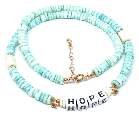 HOPE Sea Green Discs Necklace