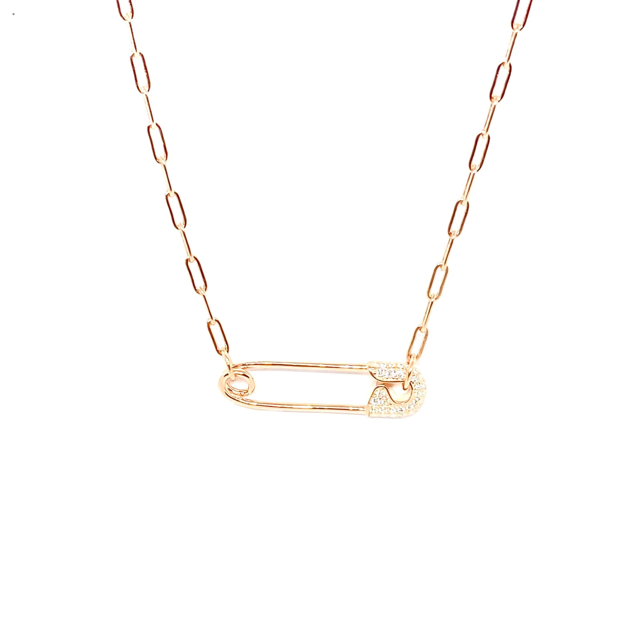 Drawn Chain Safety Pin Necklace