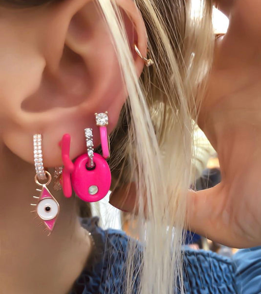 Pink Eye Drop Mid Size Earring