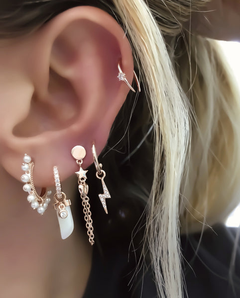 Star Heart Chain Earring