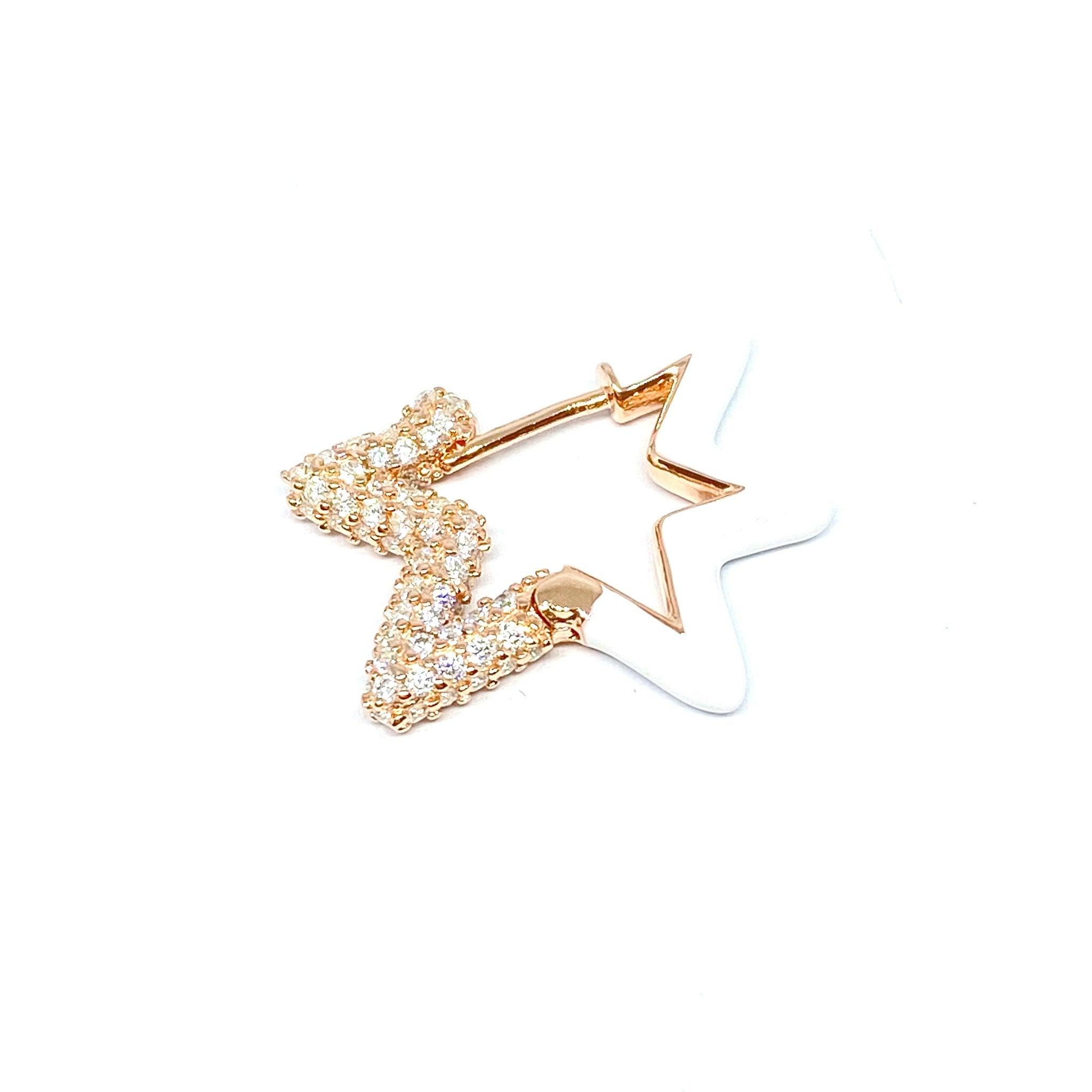 White Enamel Two Sided Star Earring